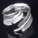925 STERLING SILVER FEATHER BIKER LADIES RING sz N toZ3 / US sz 7 to 15