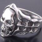 925 Silver Skull Bone Flame Biker Rebel Ring SZ N to Z3 / US sz 7 to 15