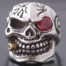 925 STERLING SILVER CRACKED SKULL GEM EYE BIKER RING SZ N to Z3 / US sz 7 - 15