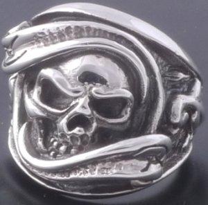 925 Sterling Silver Pirate Skull Biker Rebel Ring sz N to Z3 / US sz 7 to 15