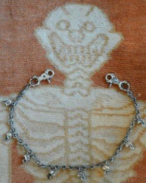 "Custom 925 Silver Skull Clasp Pendant Crown Link Biker Rockstar Walletchain 24"""