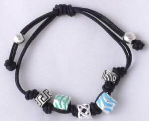 "LADIES 925 SILVER CELTIC ROMAN BEADS CHARM  STRING ENAMEL KINGS BRACELET 5"" - 8"""