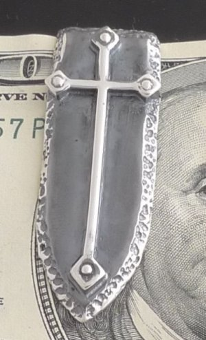 925 STERLING SILVER GOTHIC CROSS SHIELD BIKER CHOPPER ROCKSTAR MONEYCLIP New
