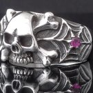 925 STERLING SILVER SKULL SPIDERWEB BIKER RING AU sz N to Z3 sz US sz 7 to 15
