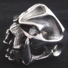 925 SILVER ELITE GEM EYE SKULL CHOPPER BIKER RING AU sz N to Z4 / US sz 7 to 15