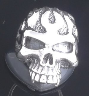 925 Sterling Silver Skull Flame Jaw Biker ChopperRing sz N to Z3 / US sz 7 to 15