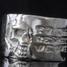 SILVER PLATED ENGRAVED SKULL RING AU sz T1/2,V1/2, Y = US sz 10, 11, 12.25
