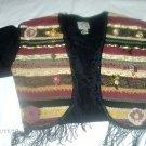 Black Fringed Bolero Vest Long Sleeve Medium