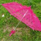hot pink lace parasol umbrella elegant wedding party