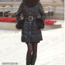 2011 REAL FUR COLLAR WOMEN DELUXE HOODED WINTER LONG DOWN JACKET COAT