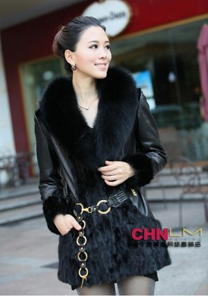 sheep skin+fox fur collar+mink fur middle length Coat