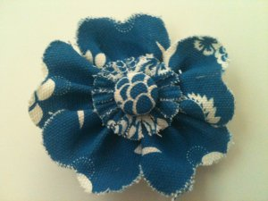 BLUE & WHITE FABRIC FLOWER