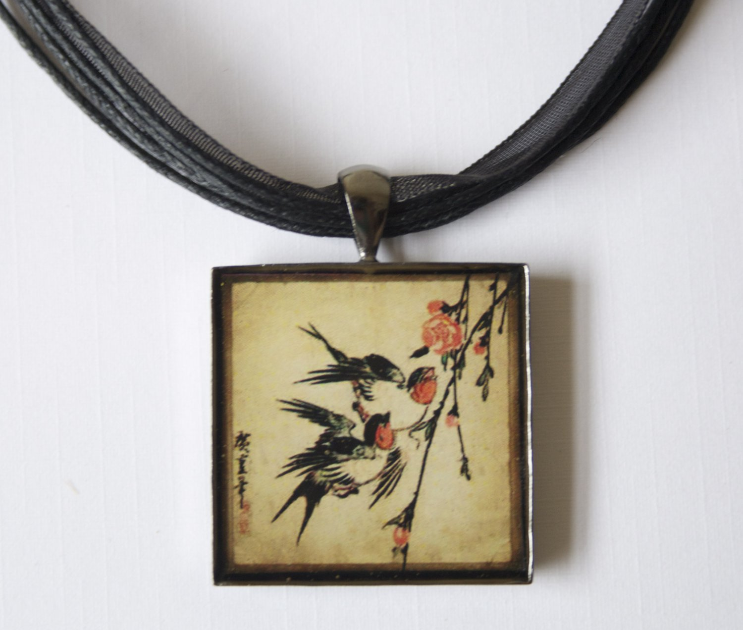 2 Birds & Cherry Blossom Resin (Glass Like) Square Pendant w Black Ribbon Necklace