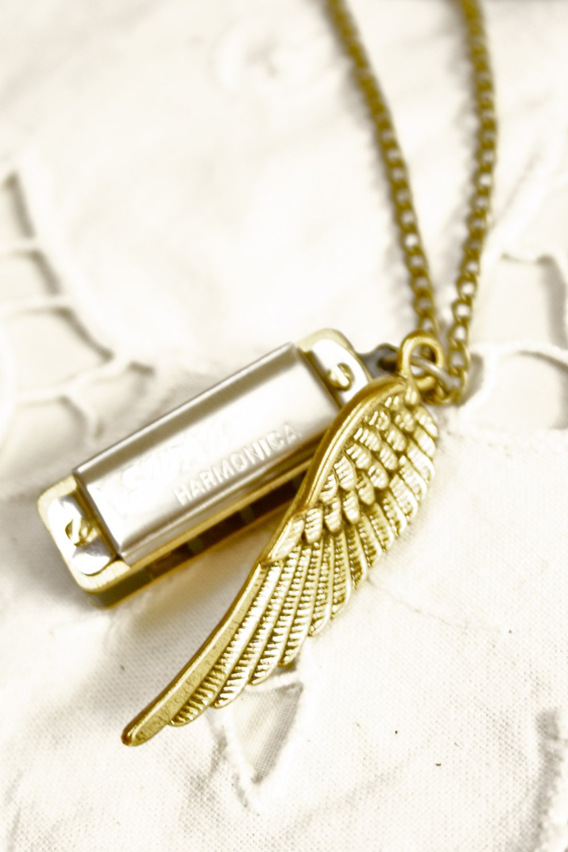 'Songbird' Mini Harmonica Necklace w Bird Wing Charm Silver Harmonica Pendant
