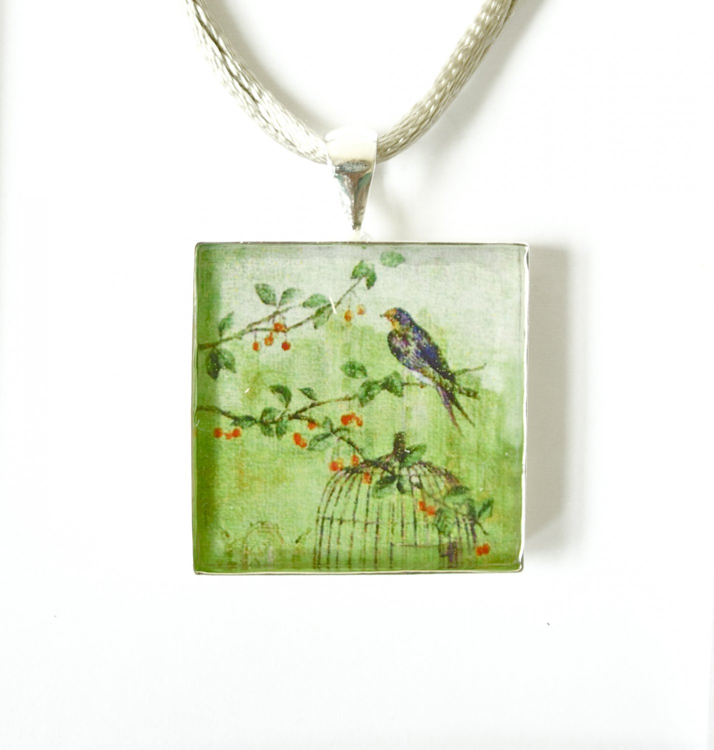 Bird Cage Silver & Green Square Pendant on Satin Necklace