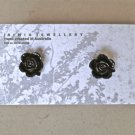 Jet Black Rose Stud Earrings by Jaimia Jewellery