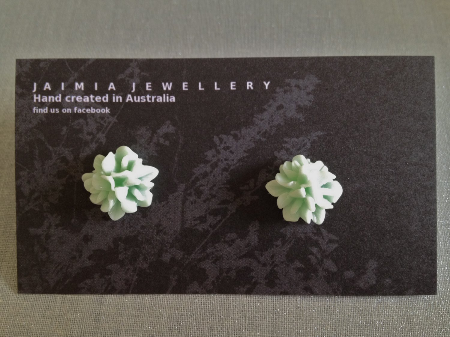 Pastle Green Frost Small Floral Stud Earrings by Jaimia Jewellery