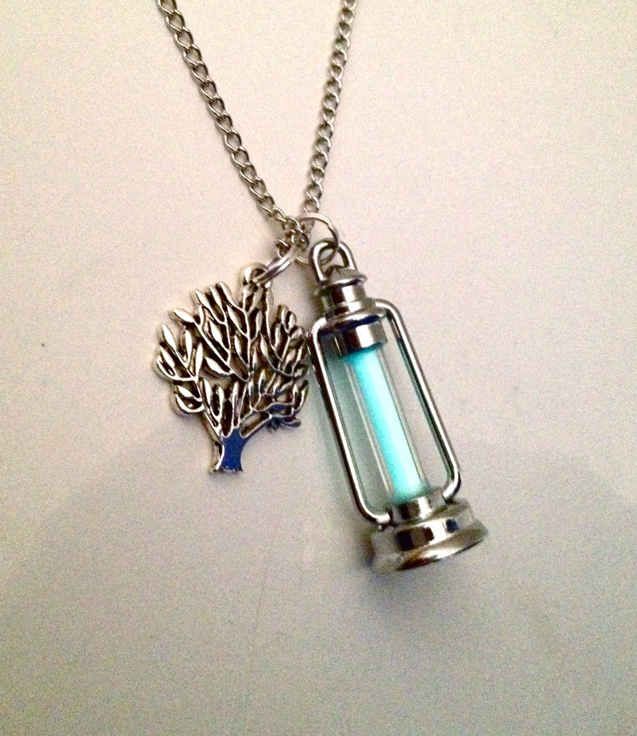 Glow in the Dark Pendant & Tree Charm Necklace.