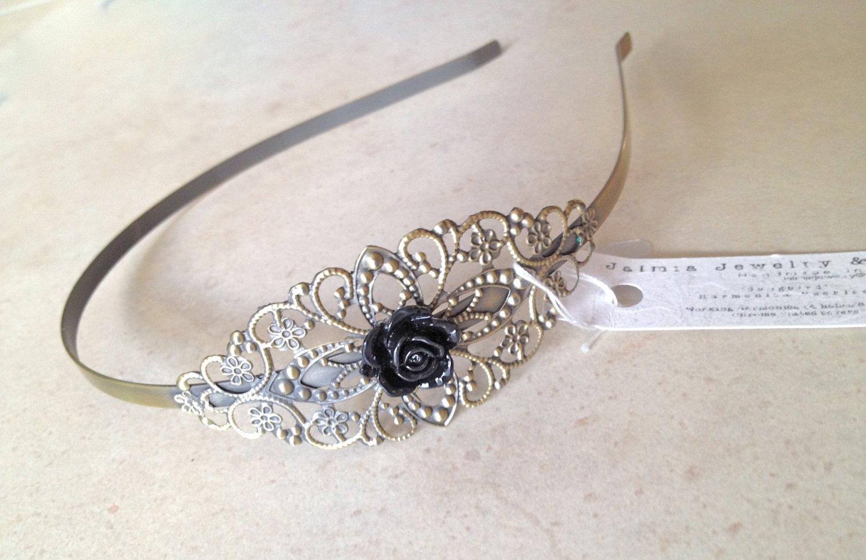 Black Head band w Rose Vintage Style Floral Metal Headband
