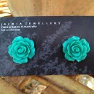Turquoise Aqua Flower Stud Earrings by Aus Made Jaimia Jewellery