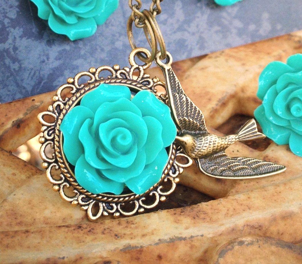 Turquiose Aqua Bronze Old Gold Necklace w Bird Charm by Aus Made Jaimia Jewellery
