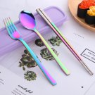 Portable Stainless Steel Cutlery Set w Chopsticks & Wheatgrass Container  l  Iridescent Purple