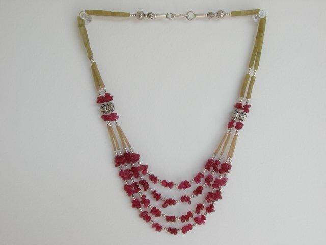 Ethnic Vintage East Indian Jade & Silver Necklace