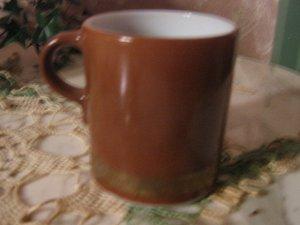 Pyrex Coffee Cup Vintage Mug Brown Burnt Umber Gold Band