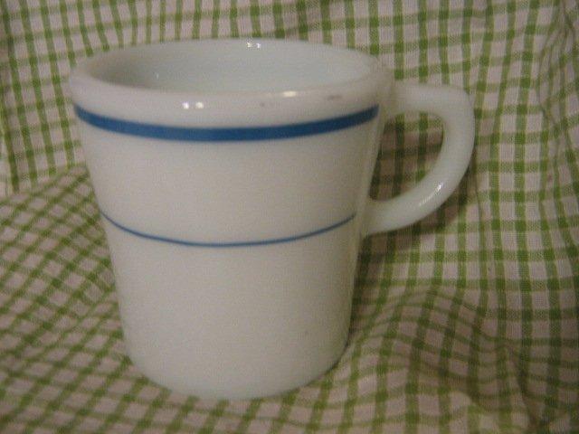 Vintage Pyrex Mug White Teal Blue Stripe Coffee Cup