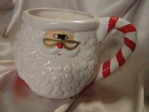 Chubby Santa Vintage Mug coffee cup Candy Cane Handle