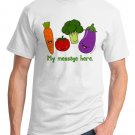 Personalized Kawaii T-Shirt - Size L - Unisex White - Vegetables
