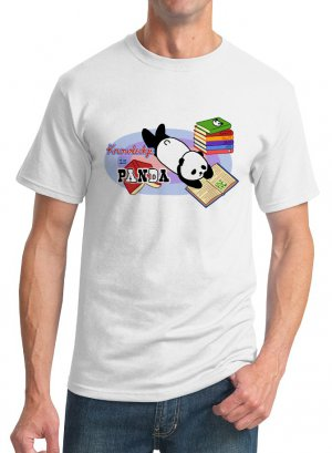 Kawaii T-Shirt - Size L - Unisex White - Knowledge is Panda