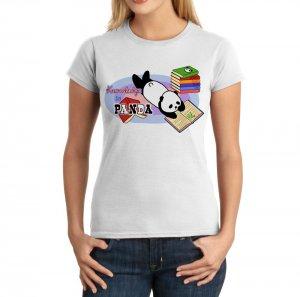 Junior Fit Ladies' T-Shirt - Size M - White - Kawaii Knowledge is Panda