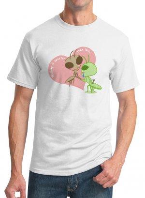 Kawaii T-Shirt - Size L - Unisex White - Kawaii Valentine - Praying Mantis