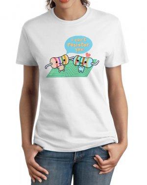 Ladies' T-Shirt - Size S - White - Kawaii Physics - Resistors