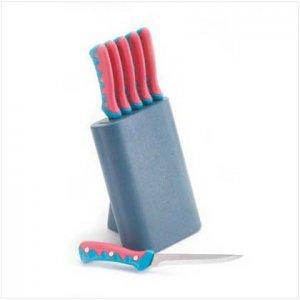 6 PC STEAK KNIFE W/WOOD STAND