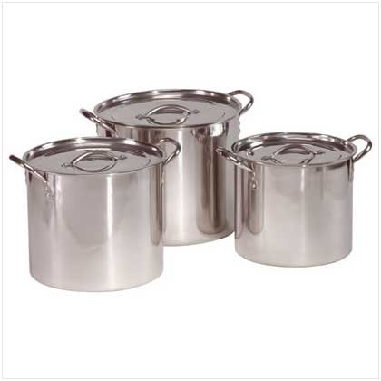 3 PC STAINLESS STEEL STOCK POT