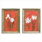 SET OF 2 FLORAL WALL PLAQUES