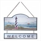 WOOD LIGHTHOUSE WELCOME SIGN