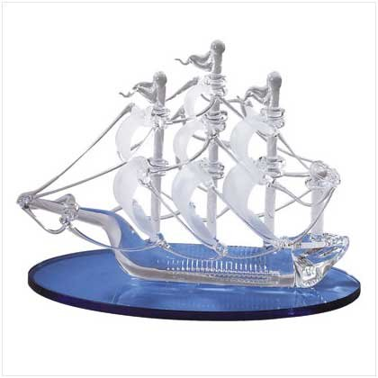 SPUN GLASS SAIL BOAT/BLUE BASE