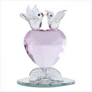 GLASS LOVEBIRDS/CRYSTAL HEART