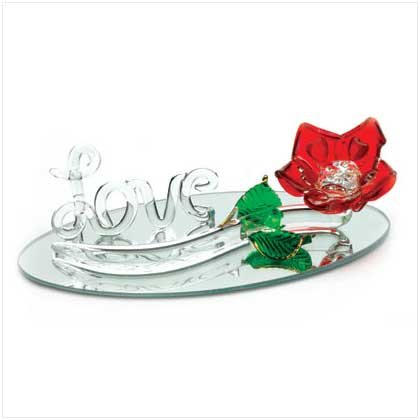 "RED ROSE ON BASE WITH ""LOVE"""