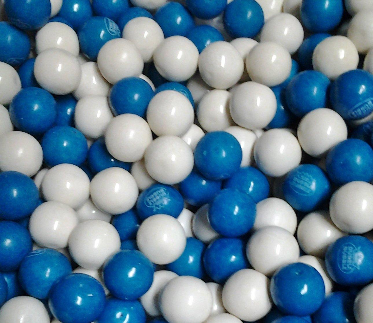 """Dubble Bubble Blue & White 1"""" Gumballs 2 Lbs"""