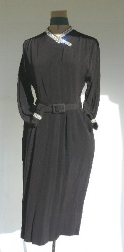 1940's Mademoiselle Juliette Cocktail Dress in Black Crepe with Bands of Sparkling Rhinestones