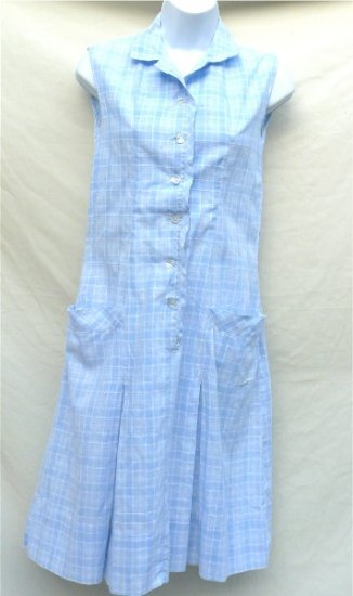 Nancy Frock, Dan River Fabric, Blue and White Plaid Housedress