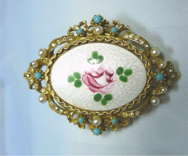 *Guilloche Brooch/Pin by Art, Antique Style Mounting with Faux Pearls, Rhinestones and Beads