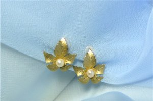 *Dainty and Lovely!  Reis Co. Earrings Done in 12K GF Finish with Pearl Center