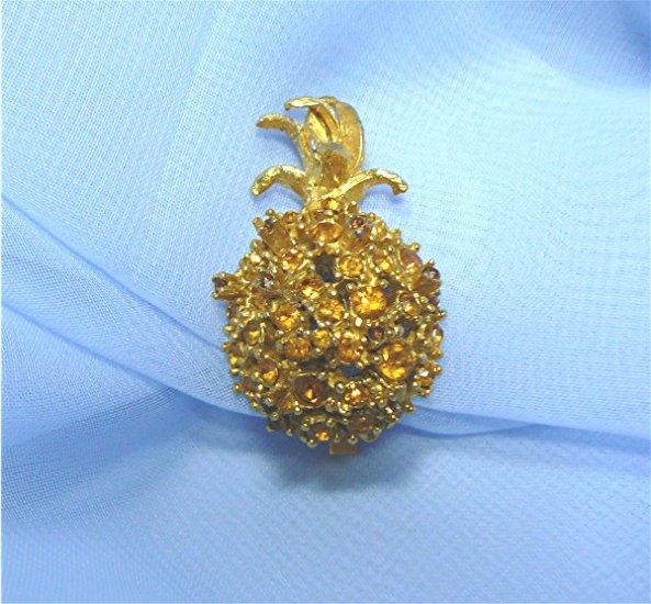 Single Alice Caviness Pineapple Earring:  Topaz Rhinestones, Gold Plated Mounting
