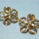 *Baguette Rhinestones in Vintage Goldtoned Earrings by Kramer, Elegant Swirled Style
