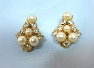 "*Elegant ""Kite"" Shaped Clipon Earrings: with White Faux Pearls and Sparkling Rhinestones"
